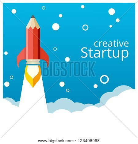 Banner for a startup. Pencil rocket takeoff