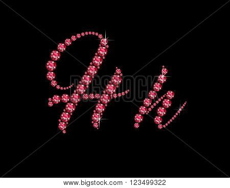 Hh in stunning Ruby Script precious round jewels isolated on black.