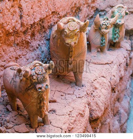 Clay Livestock Toy Idol Statues In Pukara,   Peru