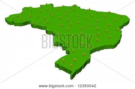 map of Brazil with many abstract people illustration