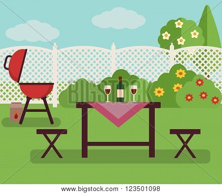 Summer picnic in garden. Resting in a sunny day. Weekend concept.