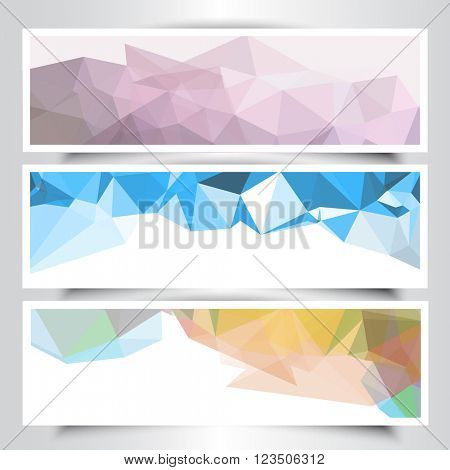 Collection of banners with abstract geometric design