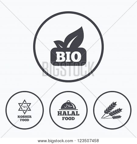 Natural Bio food icons. Halal and Kosher signs. Gluten free and star of David symbols. Icons in circles.