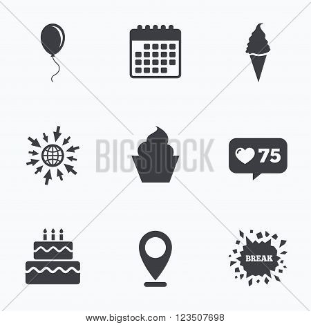 Calendar, like counter and go to web icons. Birthday party icons. Cake with ice cream signs. Air balloon with rope symbol. Location pointer.