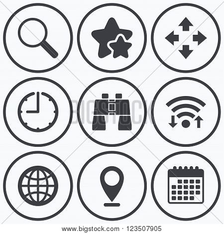 Clock, wifi and stars icons. Magnifier glass and globe search icons. Fullscreen arrows and binocular search sign symbols. Calendar symbol.