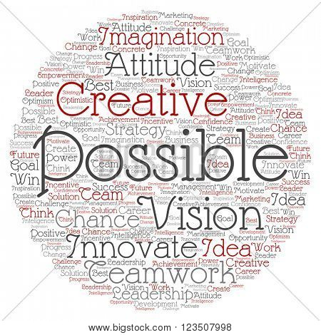 Concept or conceptual abstract creative business word cloud on white background