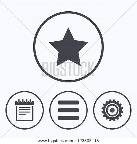 Star favorite and menu list icons. Notepad and cogwheel gear sign symbols. Icons in circles.