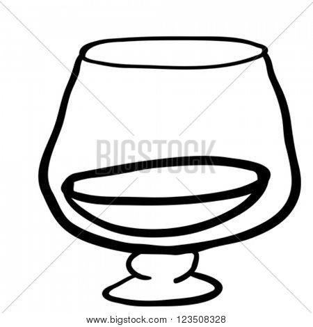 black and white glass of cognac cartoon