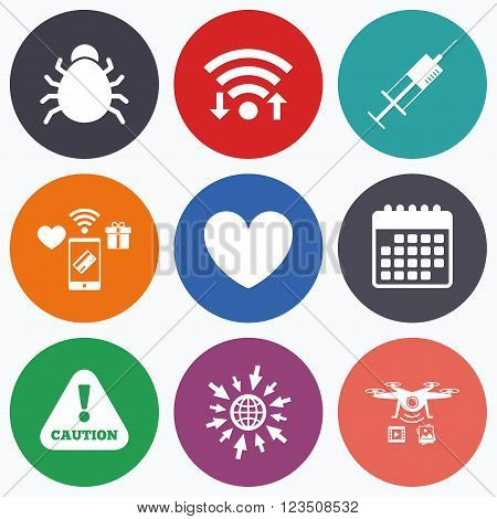 Wifi, mobile payments and drones icons. Bug and vaccine syringe injection icons. Heart and caution with exclamation sign symbols. Calendar symbol.