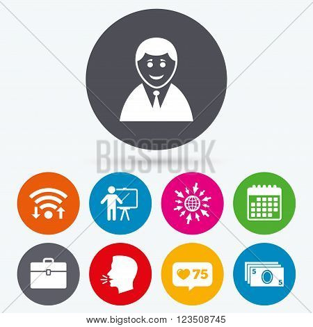 Wifi, like counter and calendar icons. Businessman icons. Human silhouette and cash money signs. Case and presentation symbols. Human talk, go to web.
