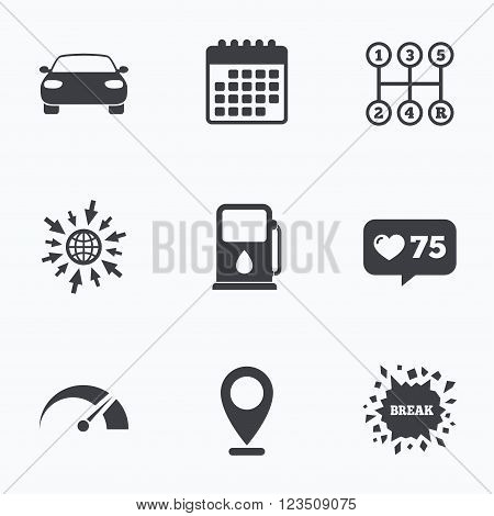 Calendar, like counter and go to web icons. Transport icons. Car tachometer and manual transmission symbols. Petrol or Gas station sign. Location pointer.