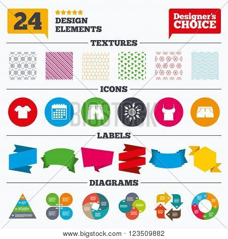 Banner tags, stickers and chart graph. Clothes icons. T-shirt and pants with shorts signs. Swimming trunks symbol. Linear patterns and textures.