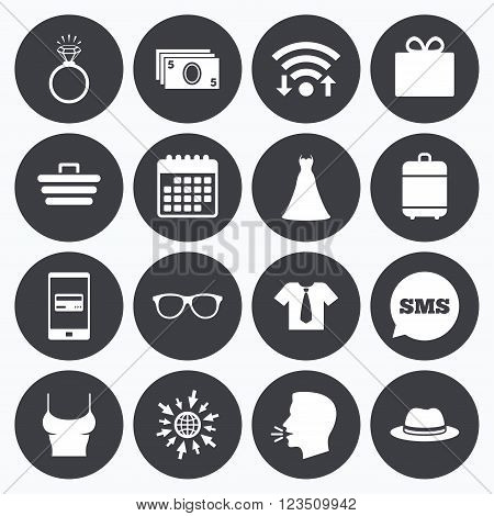 Wifi, calendar and mobile payments. Accessories, clothes icons. Shirt with tie, glasses signs. Dress and engagement ring symbols. Sms speech bubble, go to web symbols.