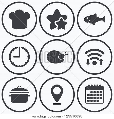 Clock, wifi and stars icons. Chief hat and cooking pan icons. Fish and chicken signs. Boil or stew food symbol. Calendar symbol.