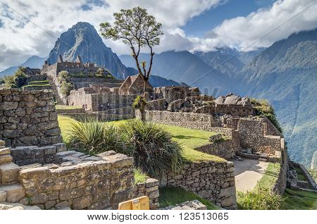 Machu Picchu, Aguas Calientes/peru - Circa June 2015: Ruins Of Machu Picchu Sacred Lost City Of Inca