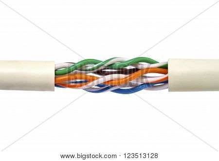 Inside line of lan cable isolated on white background