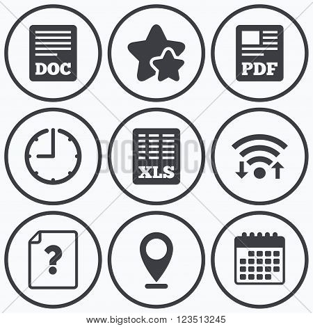 Clock, wifi and stars icons. File document and question icons. XLS, PDF and DOC file symbols. Download or save doc signs. Calendar symbol.