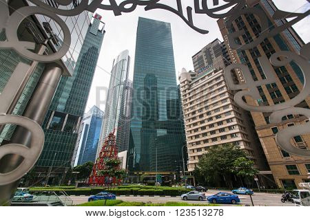 SINGAPORE - FEB 18, 2016: Buildings skyline in business district Marina Bay. Singapore is considered a global financial hub, with Singapore banks offering world-class corporate bank account facilities