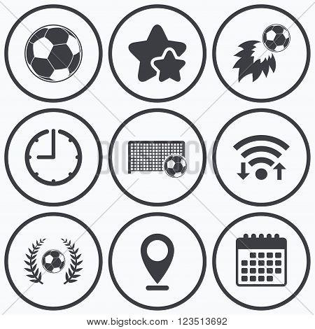 Clock, wifi and stars icons. Football icons. Soccer ball sport sign. Goalkeeper gate symbol. Winner award laurel wreath. Goalscorer fireball. Calendar symbol.