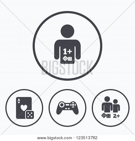 Gamer icons. Board games players signs. Video game joystick symbol. Casino playing card. Icons in circles.
