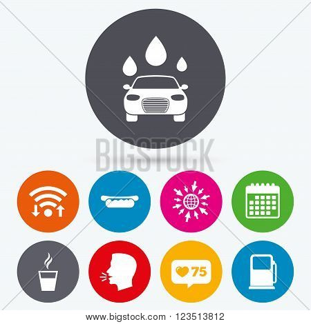 Wifi, like counter and calendar icons. Petrol or Gas station services icons. Automated car wash signs. Hotdog sandwich and hot coffee cup symbols. Human talk, go to web.