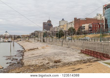 Memphis, Tn/usa - Circa February 2016: Panorama Of Downtown Memphis, Tennessee From Beale Street  La