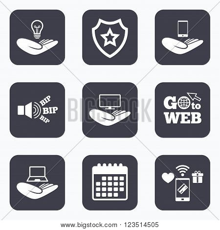 Mobile payments, wifi and calendar icons. Helping hands icons. Intellectual property insurance symbol. Smartphone, TV monitor and pc notebook sign. Device protection. Go to web symbol.
