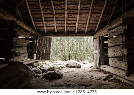 The Simple Life. Interior of pioneer barn located on the Roaring Fork Motor Nature Trail in the Great Smoky Mountains