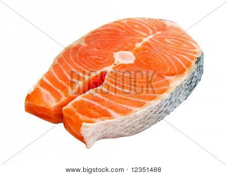 fresh salmon steak, isolated on white