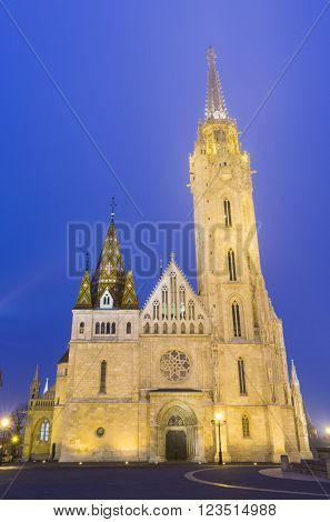Matthias Church At Night in Buda Castle , Budapest