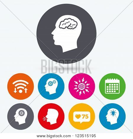 Wifi, like counter and calendar icons. Head with brain and idea lamp bulb icons. Male human think symbols. Cogwheel gears signs. Human talk, go to web.