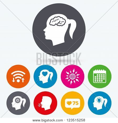 Wifi, like counter and calendar icons. Head with brain and idea lamp bulb icons. Female woman think symbols. Cogwheel gears signs. Love heart. Human talk, go to web.