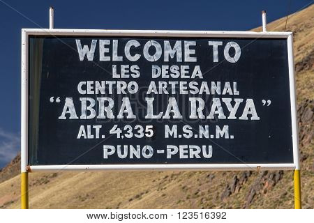 Puno, Peru - Circa June 2015: La Raya Pass In The Andes Mountains On The Way From Puno To Cusco,  Pe