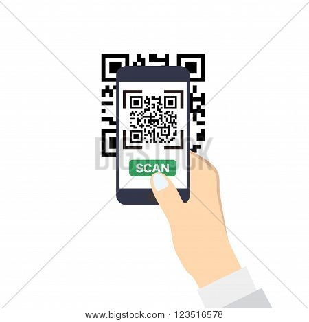 Hand holding a smartphone with QR-Code scan. Flat style icon.