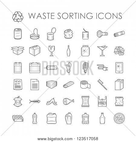 Set of garbage separation recycling related waste sorting outline icons vector.
