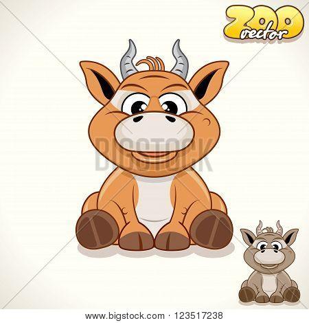 Cute Cartoon Tiny Antelope. Vector Illustration Zoo