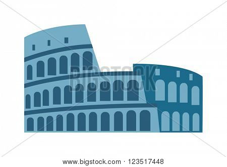 Amphitheater ruin an ancient architecture history city vector illustration.