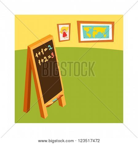 Classroom without student school class with wooden furniture and green blackboard on brick-wall-rendering vector.