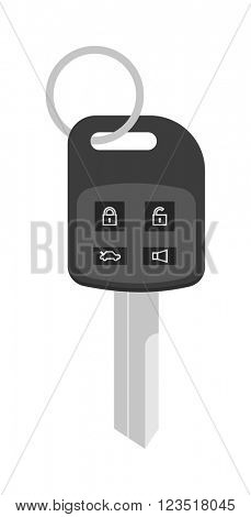 Security car key with remote control cartoon flat vector illustration.