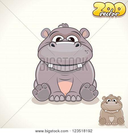 Cute Cartoon Cheerful Hippo. Vector Illustration Zoo