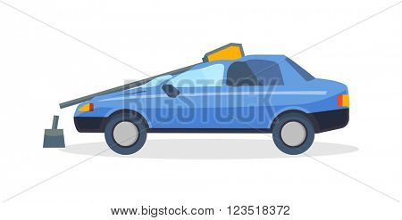 Accident road on street damaged automobiles after collision car crash vector.
