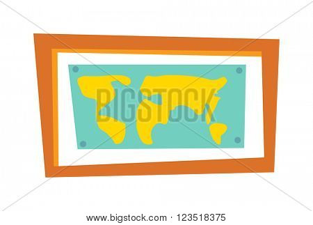 World map countries picture frame travel geography vector.