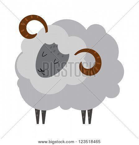 Smiling sheep cartoon animal lamb mammal vector.
