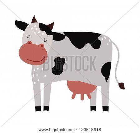 Funny cartoon cow farm mammal animal vector.