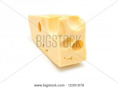 piece of cheese on white background