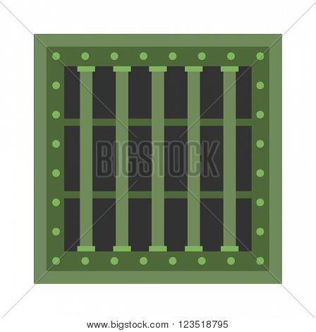 Prison cell window with metal green grill vector.
