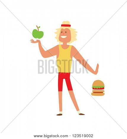 Young skinny people with package not recommended fast food not healthy food vector.