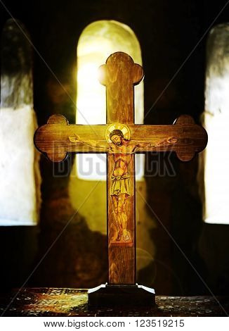 wooden crucifix in a bulgarian orthodox church soft light