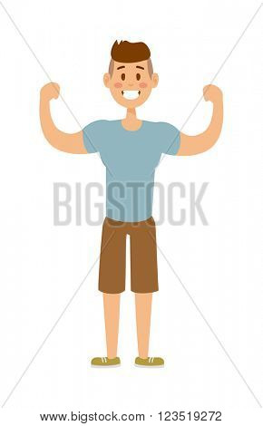 Healthy built strong sport man model fashionable active sportswear cartoon character vector.
