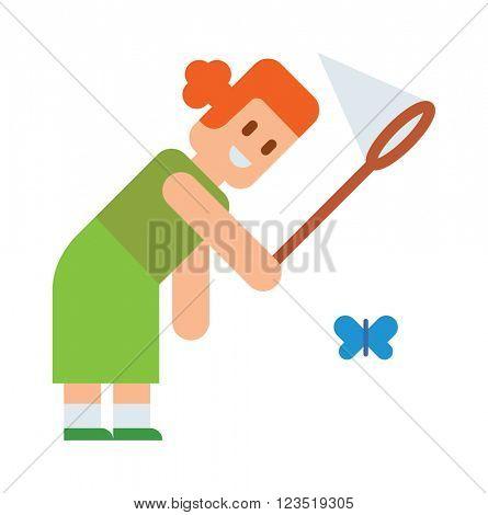 Girl tries catch butterflies with net cute cartoon vector.